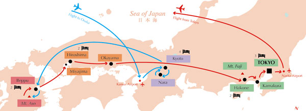 Into Japan Tours - Autumn 2008 itinerary map