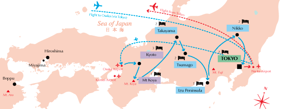 Elusive Japan itinerary map